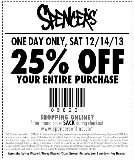 Pinned December 14th 25 Off Everything Today At Spencers Or Online Via Promo Code Sack Coupons Via The Coupons App Coupon Apps Coupons Coding