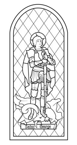 Vidriera de San Jorge Dibujo para colorear | Dibujos colorear ...