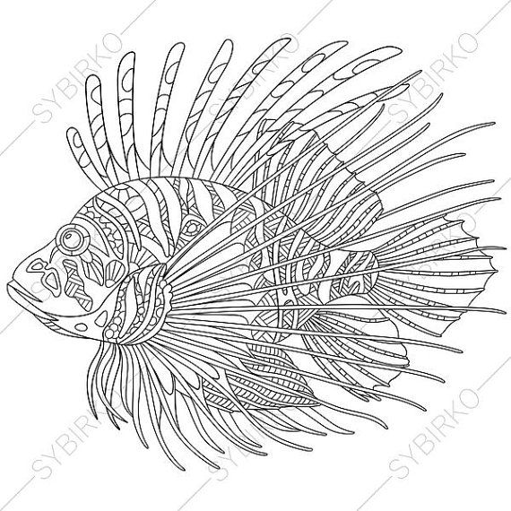 Coloring Pages For Adults Digital Coloring Page Lionfish Etsy Lion Fish Lion Coloring Pages Animal Coloring Pages