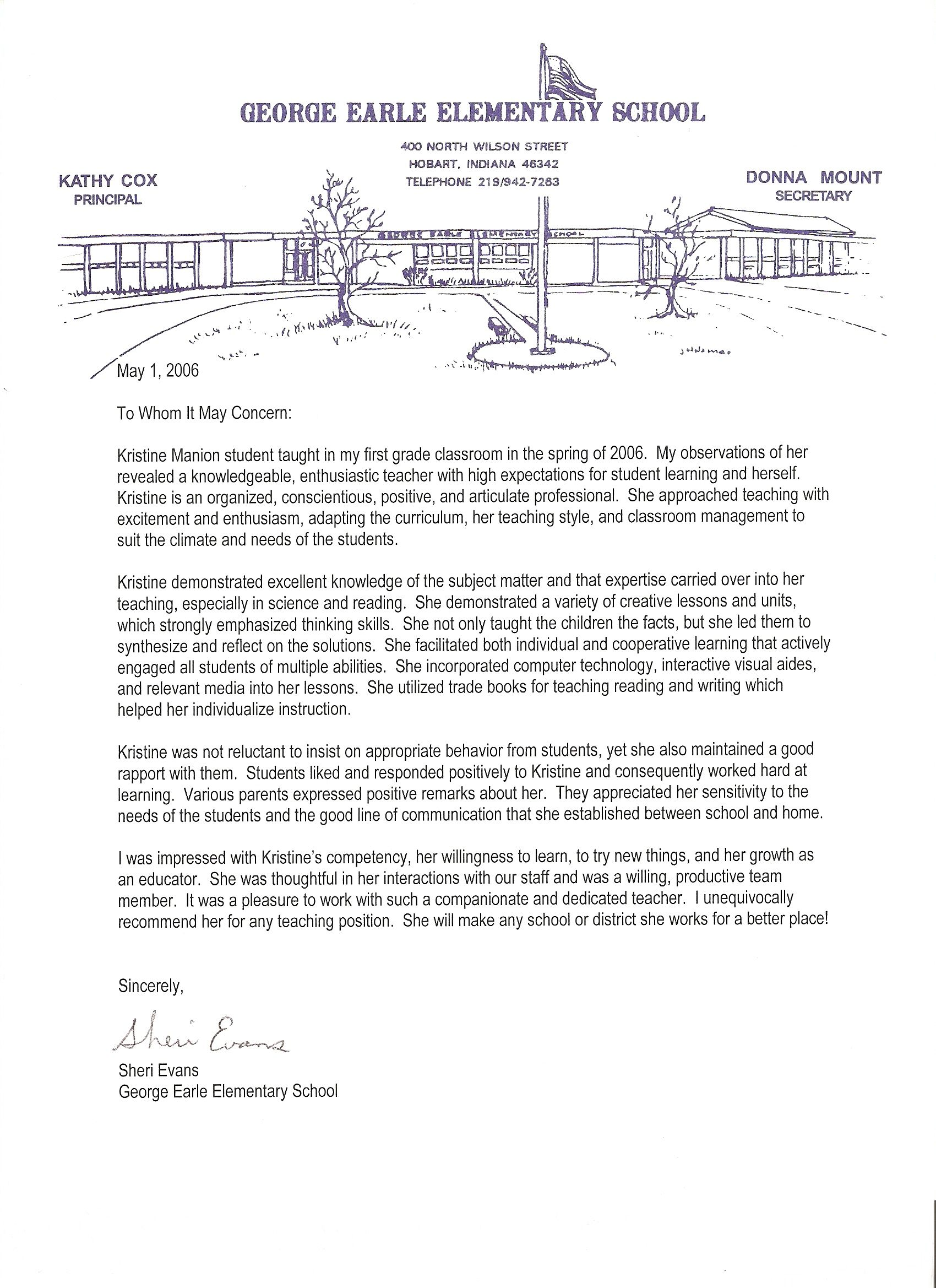 letter of recommendation for physical education teacher