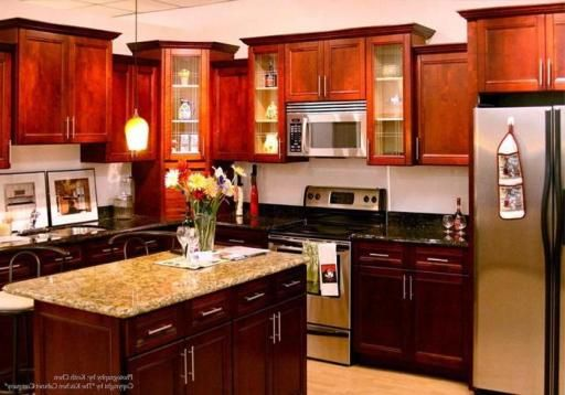 Kitchen Cabinets Hanging Wall Cherry Maple Prefabricated ...