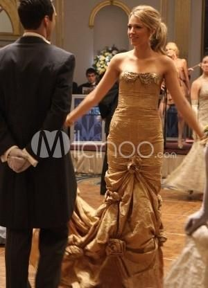 Classic Sheath Golden Floral Stapless Taffeta Prom Dress. See More ...