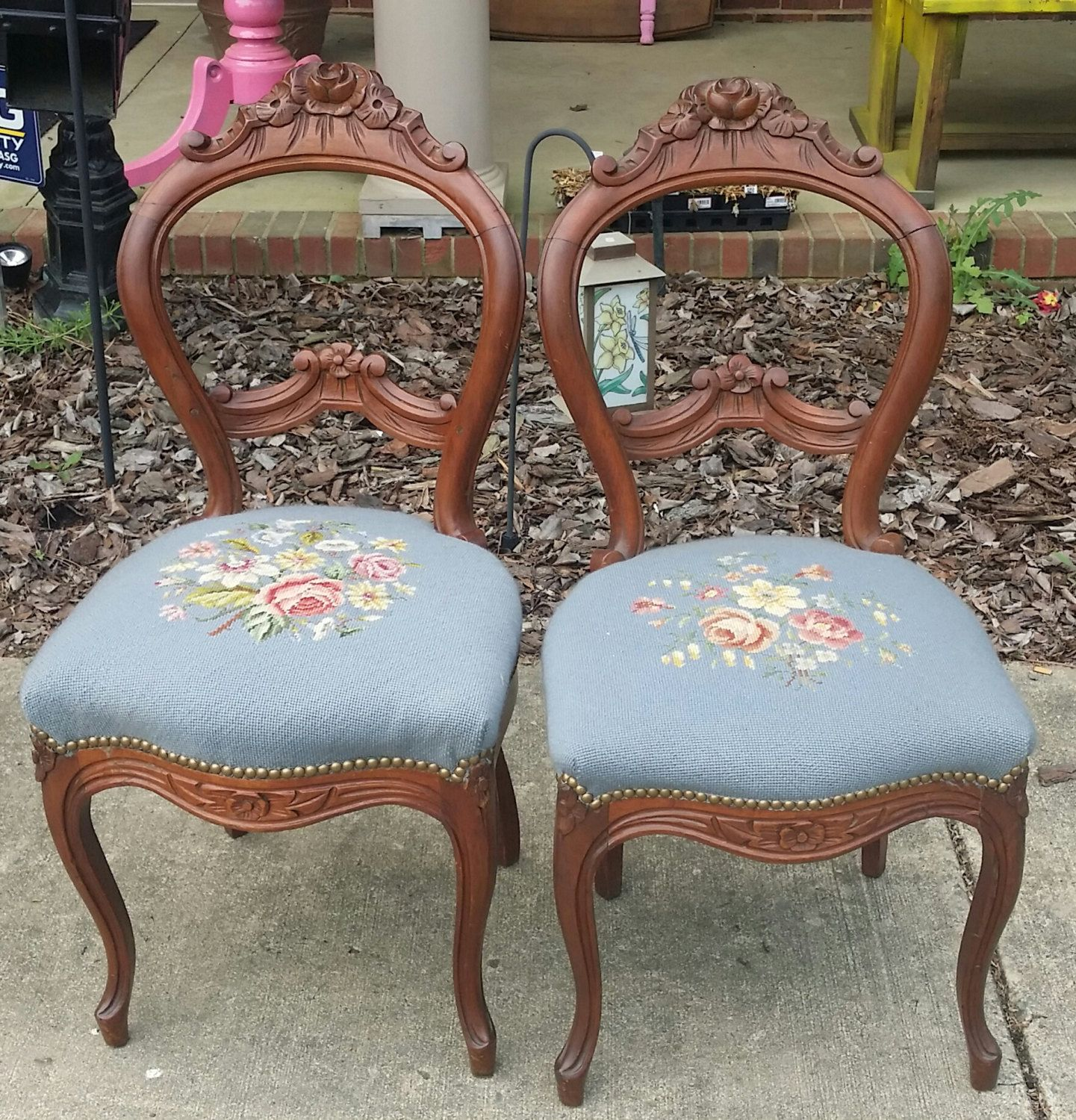 Victorian Era Dining Room: Victorian Era Balloon Back Chairs With Rose Carvings By