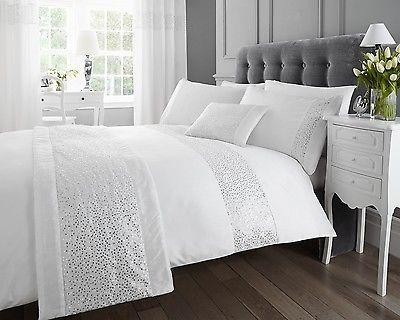 Luxury Sparkle Glitz Duvet Quilt Cover Faux Silk Sequin Bedding Bed Set White Ebay White Wall Bedroom White Duvet Covers Bed Linen Design