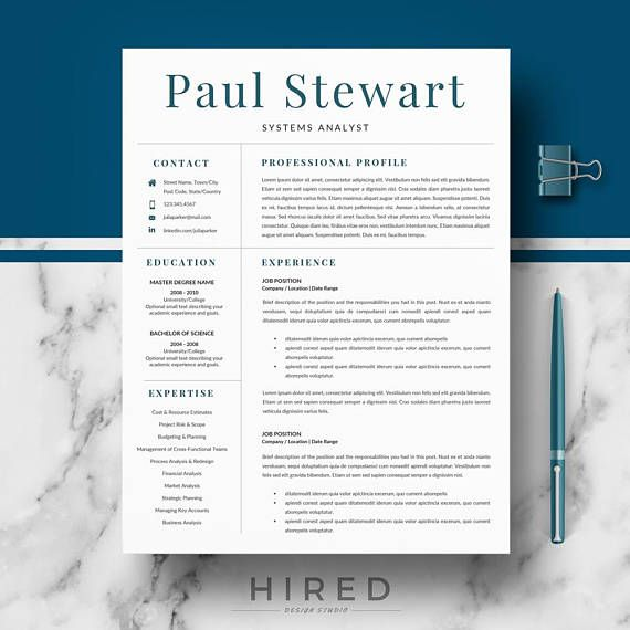 Resume Template for Word Professional Resume, CV design, Modern - references on a resume template