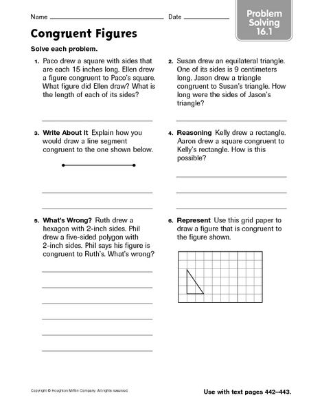 Congruent Figures Problem Solving 16 1 4th 6th Grade Worksheet Word Problem Worksheets Problem Solving Lesson Planet