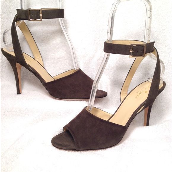 KATE SPADE Kate Spade Sz 10M...Olive Suede Upper..Leather Sole..Gold Hardware...Minimal signs of wear.,, Kate Spade Shoes Heels