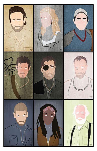 The Walking Dead Art Print Minimalist Portraits