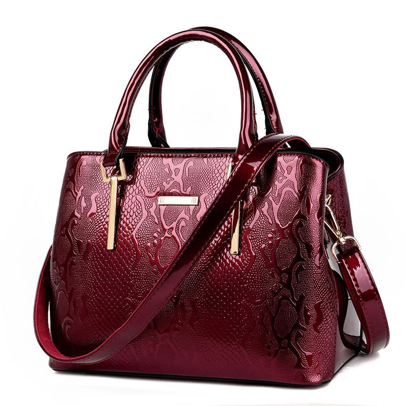 2016 Women Patent Leather Crocodile Bags Shoulder Bag Embossed Handbag Messenger Bags For Ladies