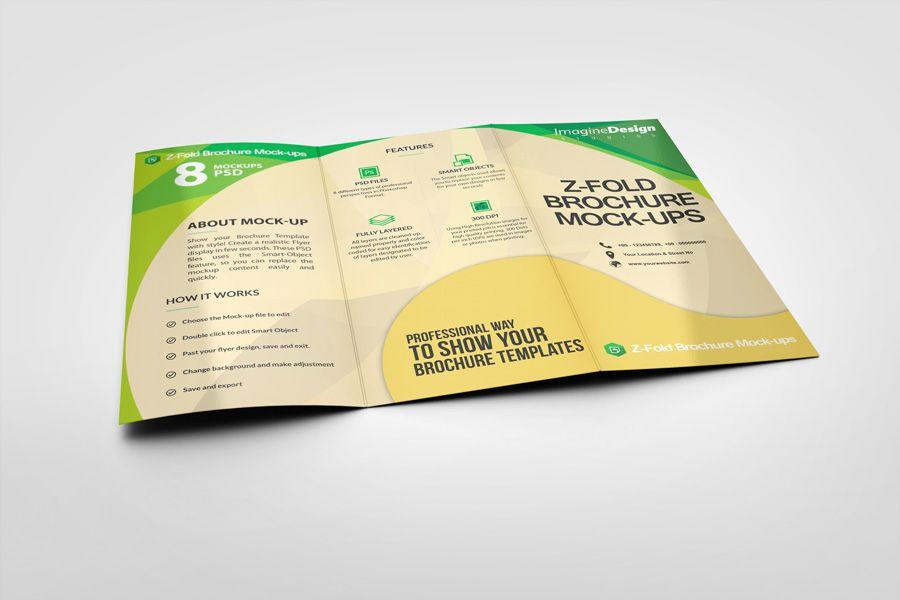 Z-Fold Brochure Mockup z-fold Pinterest Mockup and Brochures - gate fold brochure mockup