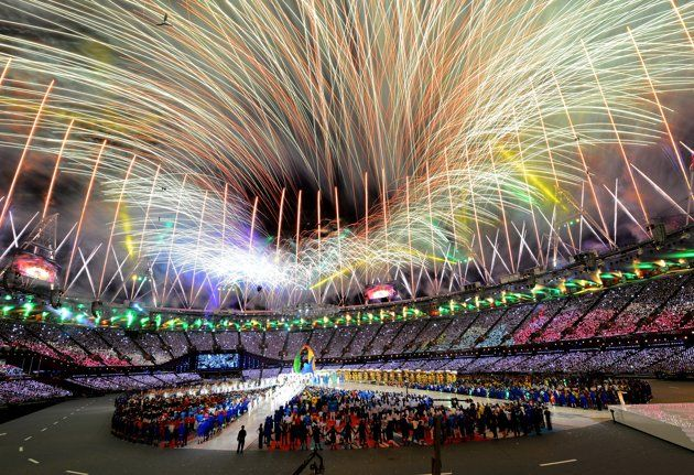 London 2012 Closing Ceremony - Fireworks explode over the stadium during the Closing Ceremony on Day 16 of the London 2012 Olympic Games at Olympic Stadium on August 12, 2012 in London, England. (Photo by Mike Hewitt/Getty Images)