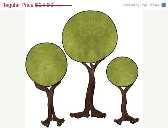 SALE Footed Trees Monster Wall Stickers Decals for Kids Room - $20