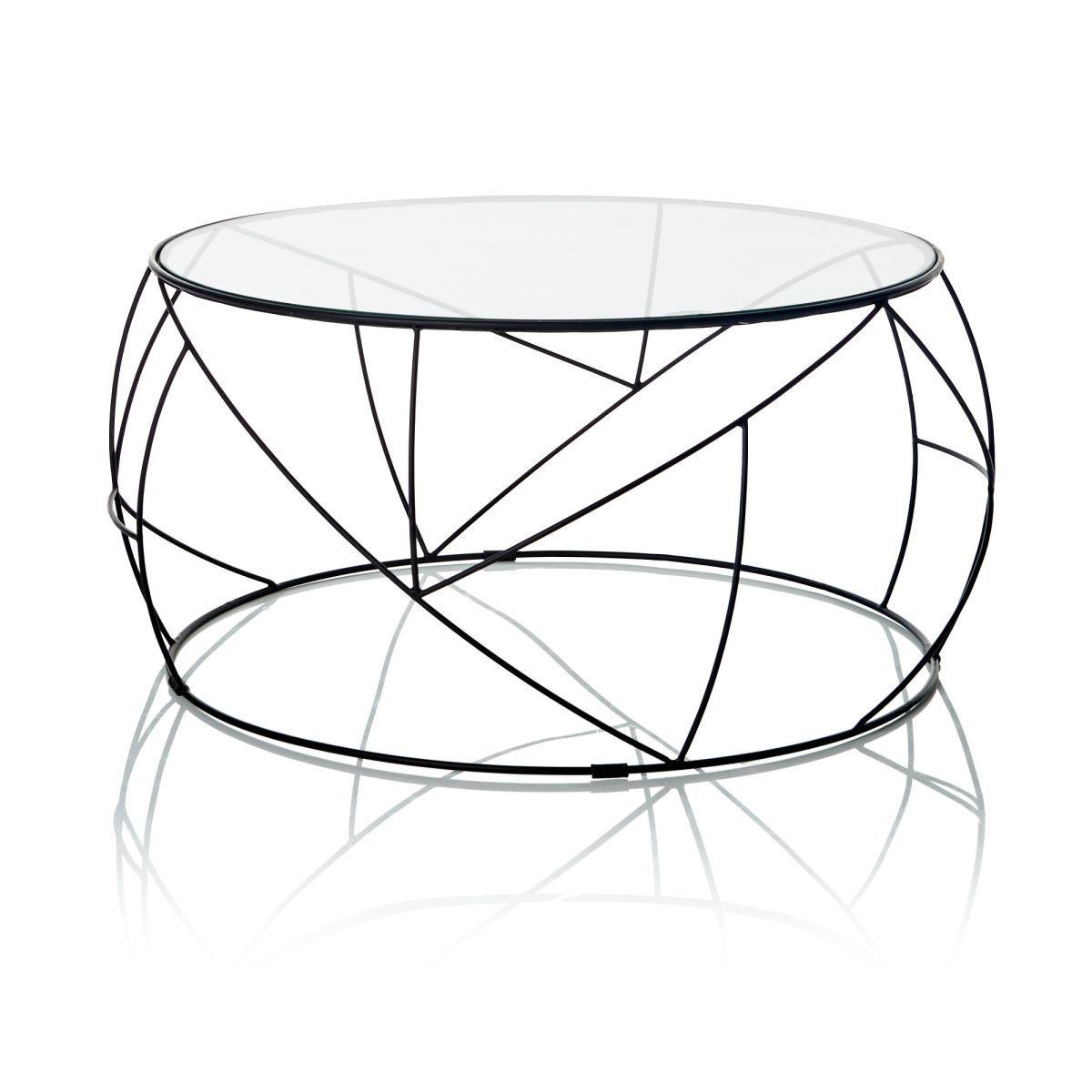 Couchtisch Rund Gehartetes Glas Metall Online Kaufen Bei