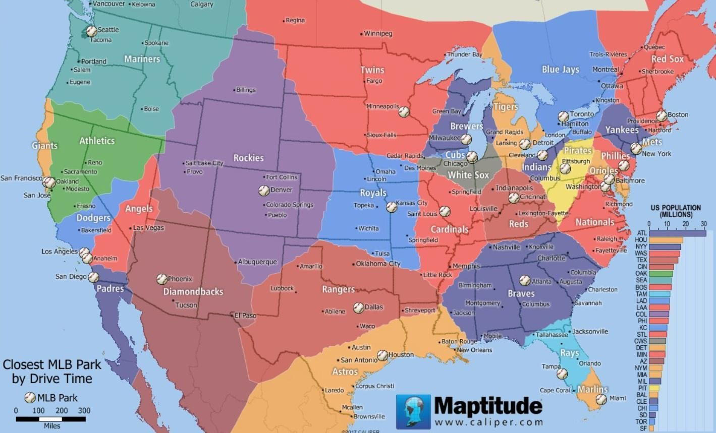 Map showing the closet MLB team by drive time | mapmania ...