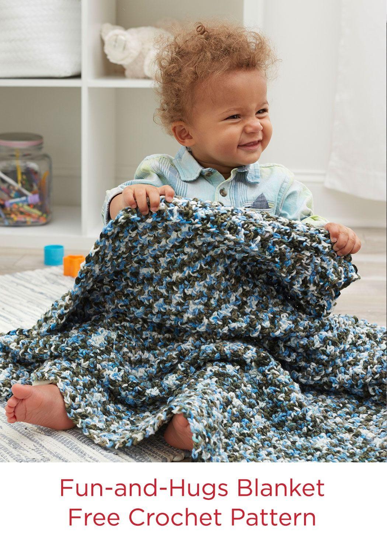 Fun and Hugs Blanket Free Crochet Pattern in Red Heart Baby