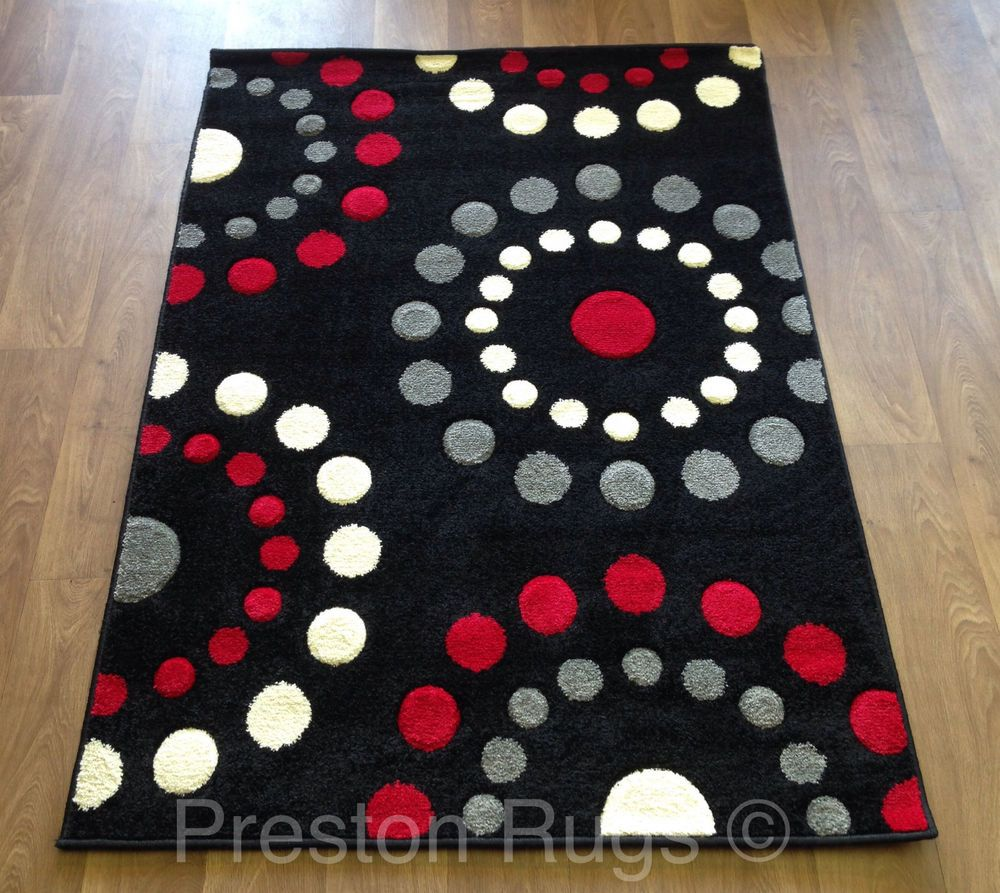Rug Runner Modern Spots Circles Black Red Silver Grey