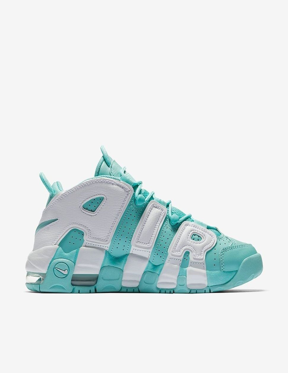 2017 NikeAir More Uptempo Gs Island Green And White Outlet