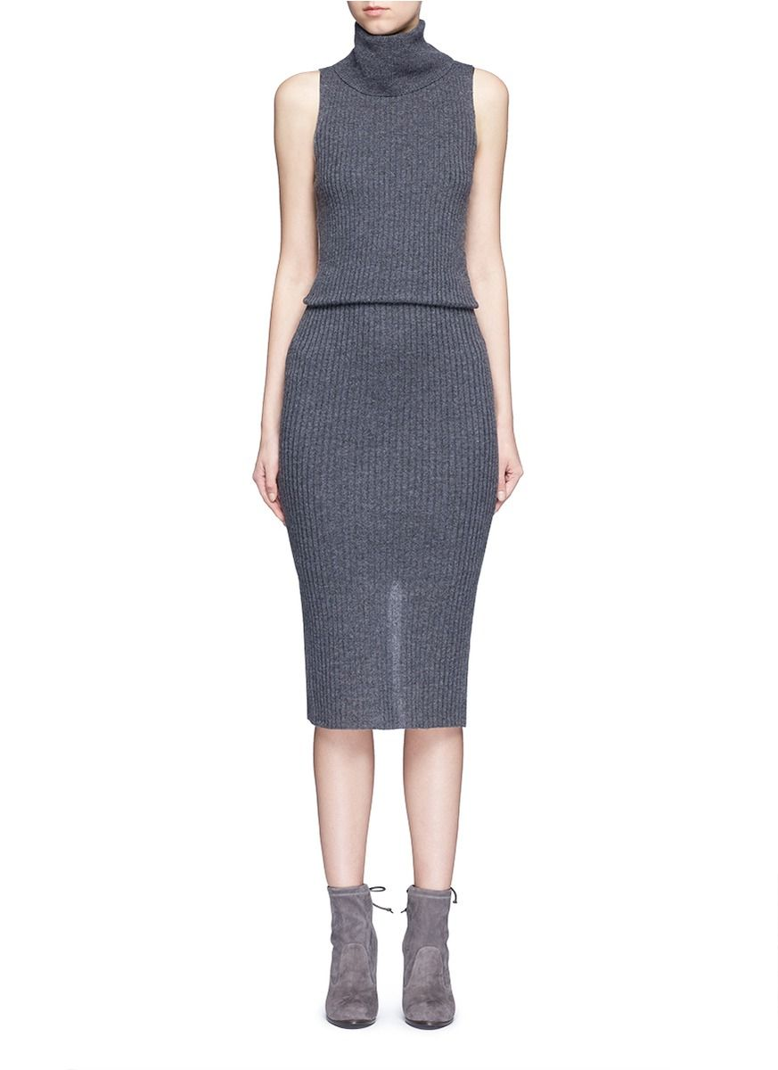 Alice Olivia Turtle Neck Dress Turtleneck Midi Dress Ribbed Turtleneck [ 1200 x 873 Pixel ]