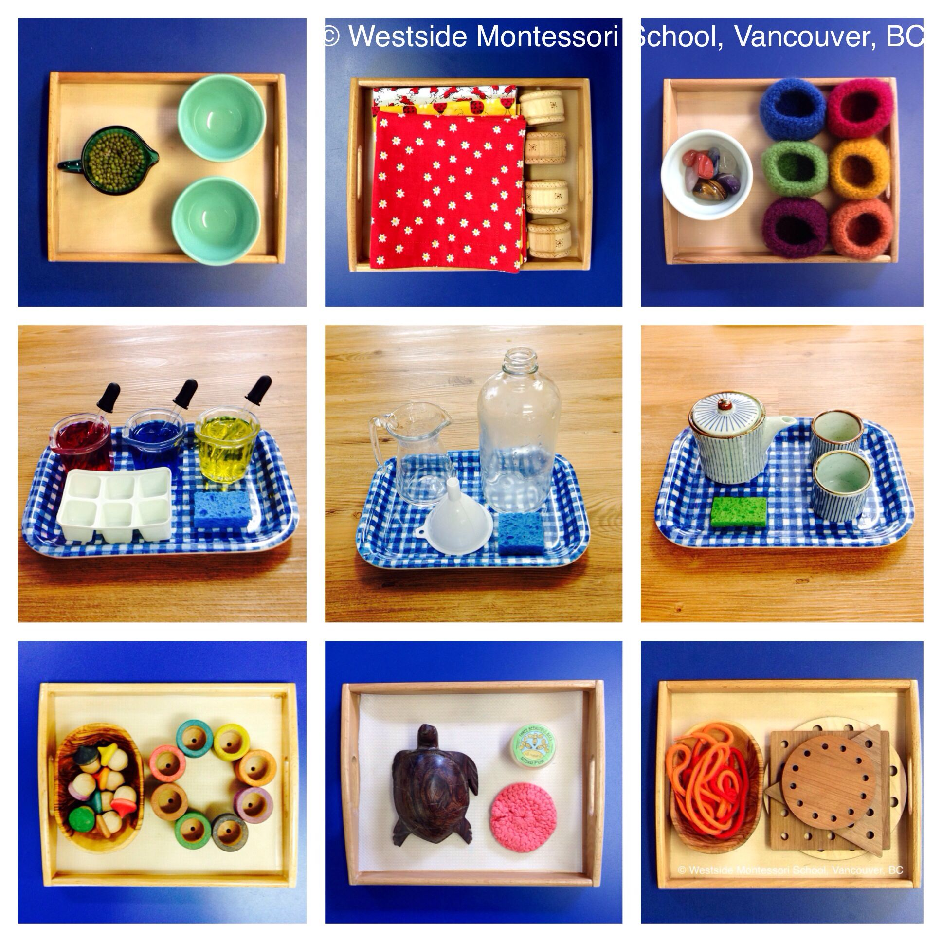 A collage of some of the Montessori Practical Life activities in our classrooms Practical life