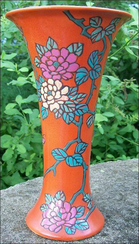 Antique Royal Nishiki Nippon Vase Orange Red W Mc Florals