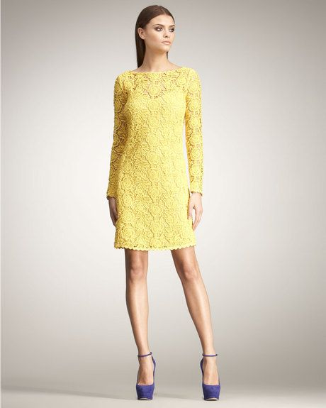 2f6aecedb553 Women's Yellow Long-sleeve Lace Shift Dress | Yellow dresses ...