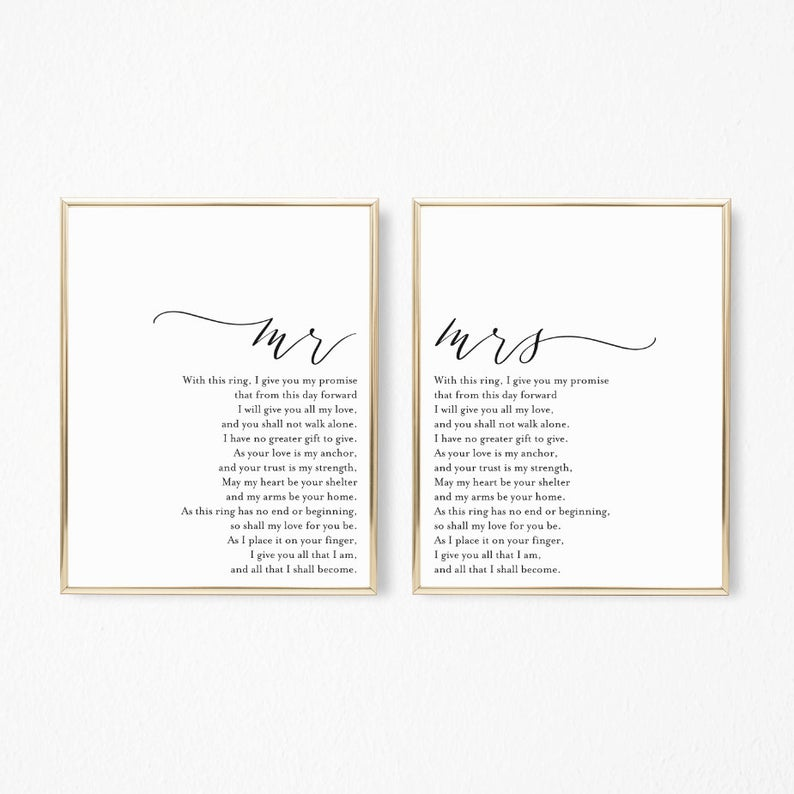 Our Vows Printable Sign Set Wedding Vows Decor Prints Etsy Printed Vows Vows Wedding Vows