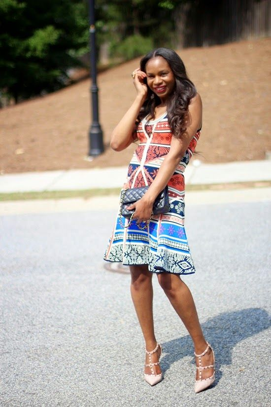 Patterns and prints are perfect for summer, like the DVF Ilsa Dress worn by blogger Awed by Monica.