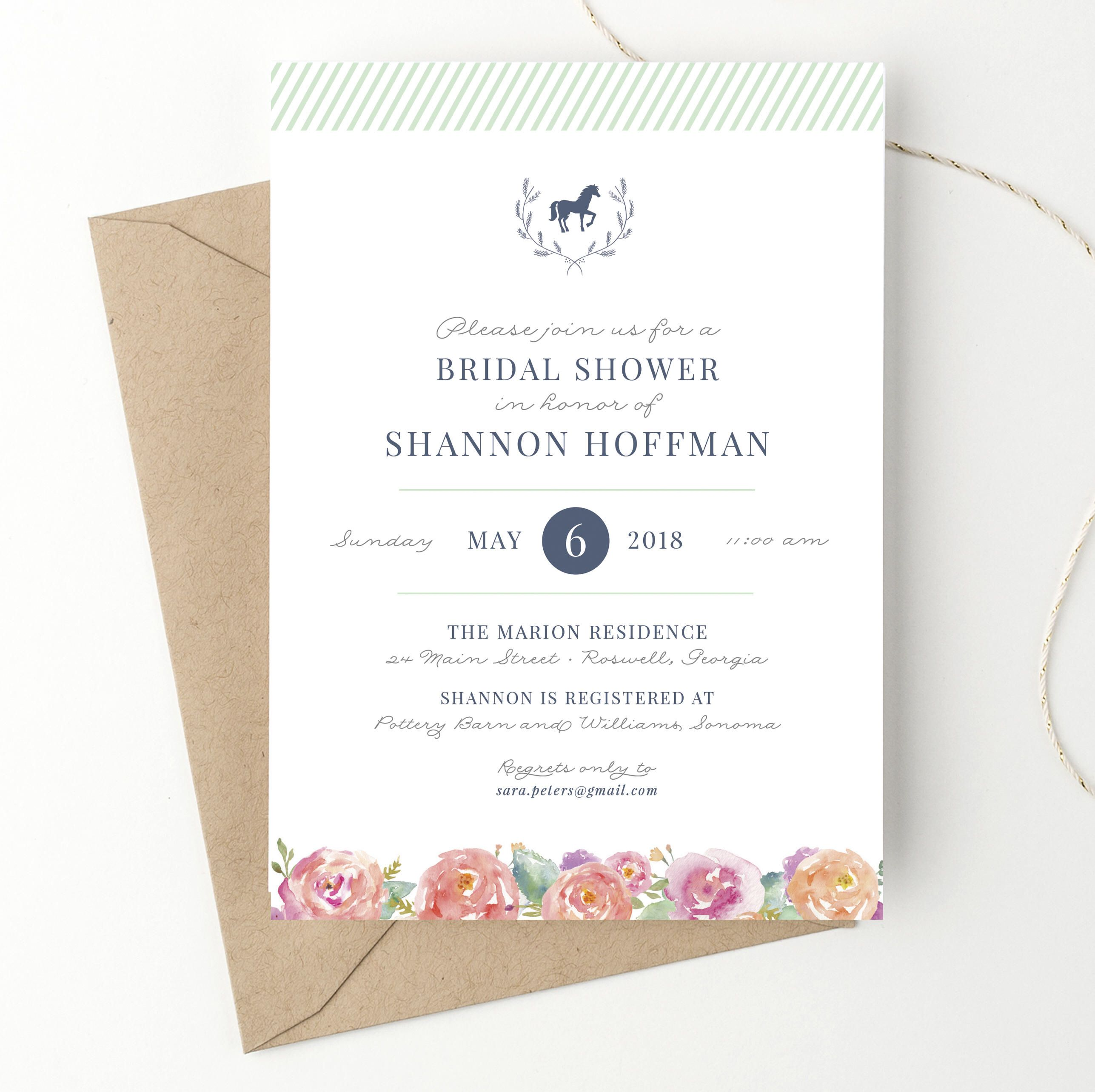 Kentucky Derby Bridal Shower Invitations, Horse Race or Equestrian ...