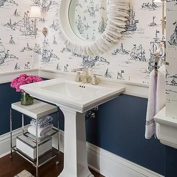 White And Navy Powder Room With Nautical Wallpaper Bathroom In