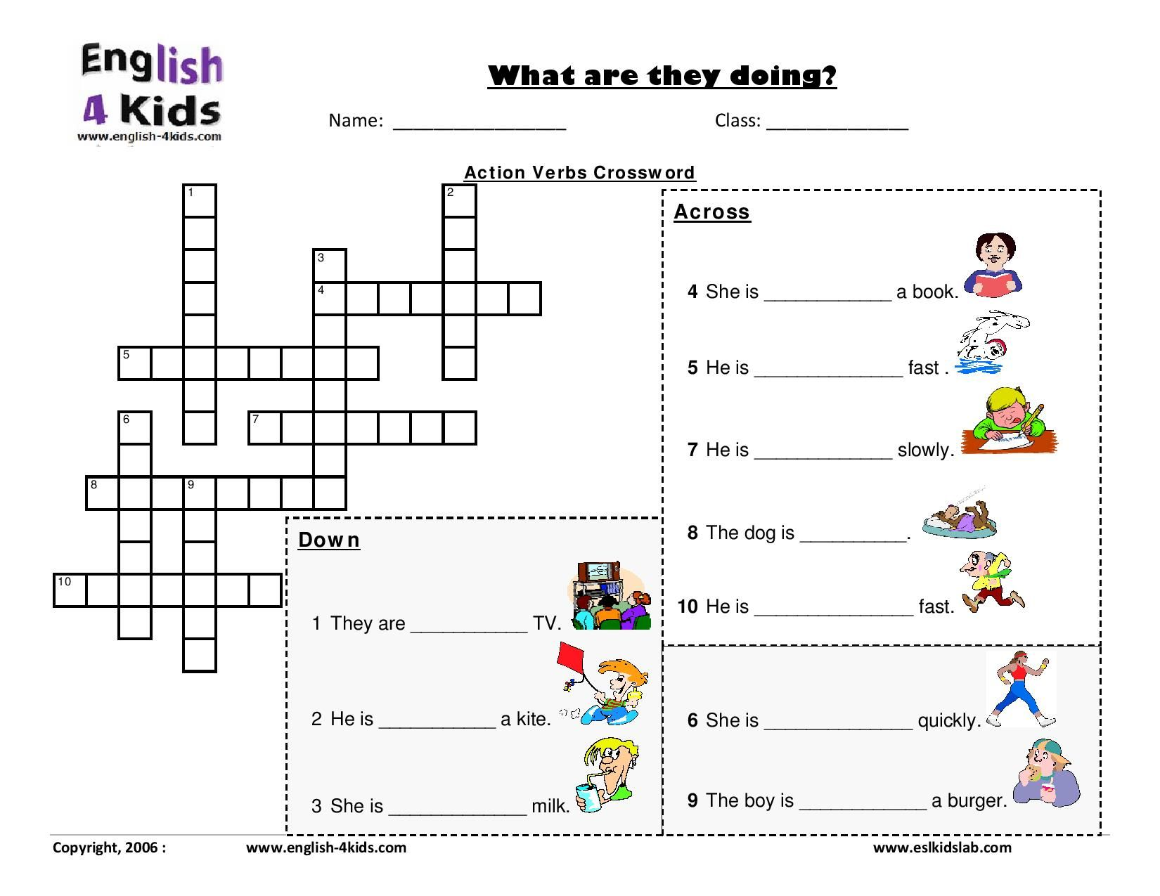 Actions Verbs Crossword Page | toy | Pinterest