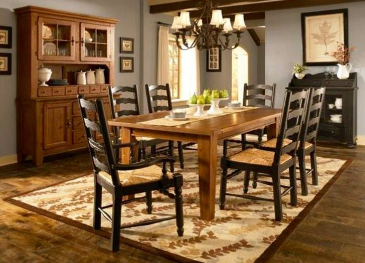 Broyhill Attic Heirlooms Rectangular Table In Oak Stain Ladderback Side Arm Chairs With Rush Seats In Black Broyhill Furniture Casual Dining Rooms Furniture