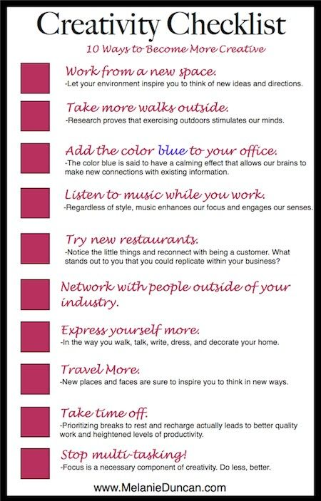 10 Tips to Being More Creative The Creative Brain Pinterest - checklists boosting efficiency reducing mistakes