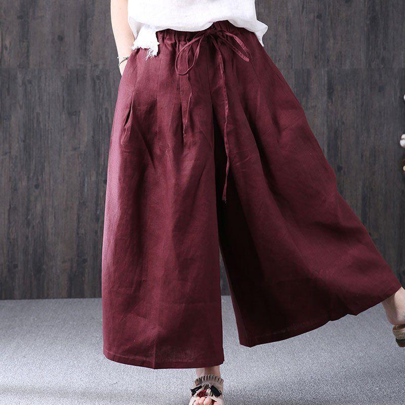 Casual Loose Women Red Wide Leg Pants