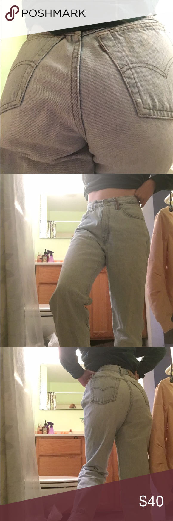 Levi mom jeans Vintage Levi 900s. They're super high waisted and very light blue. Tag says size 9but would fit size 2-6.they are a bit big on me and I'm a size 0. they're in very good condition (3rd and 4th pic not mine) Levi's Pants