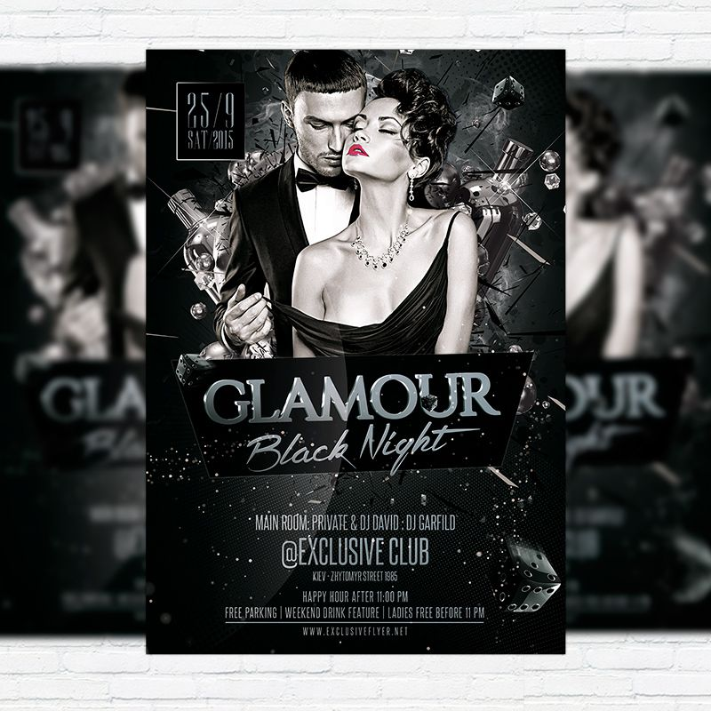 glamour party flyer - Google Search City Night Out Party - black flyer template