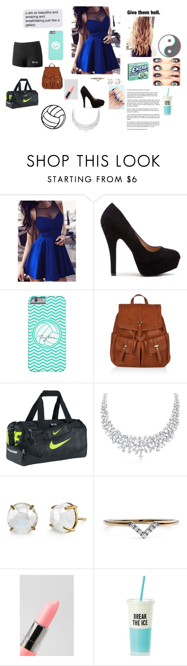 """Senior night for volleyball"" by maxilicious ❤ liked on Polyvore featuring Accessorize, NIKE, Diamonds Unleashed, NYX and Kate Spade"