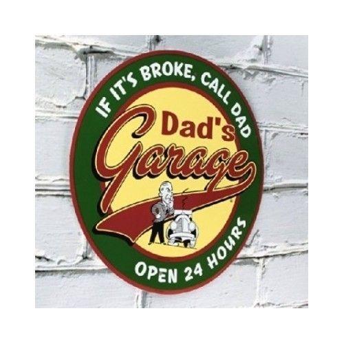 Decorative Retro Vintage Tin Decor Wall Dad's Garage Open