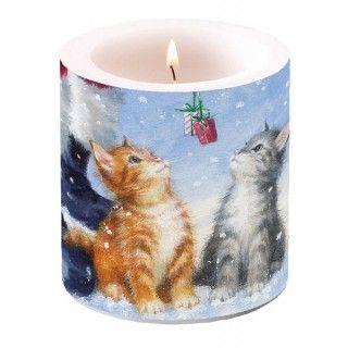 Vela para la mesa de navidad con gatitos y pequeños detalles. #velasnavidad #velas #navidad #velasgatos