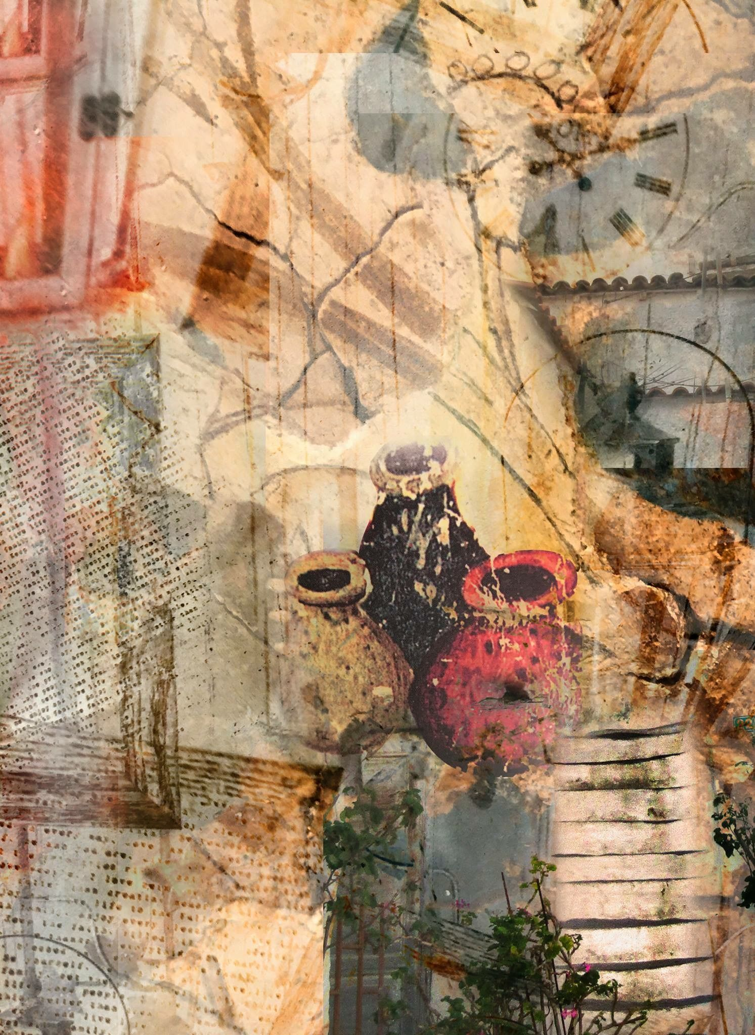 fresco style painting and collage frieze the moment shadow