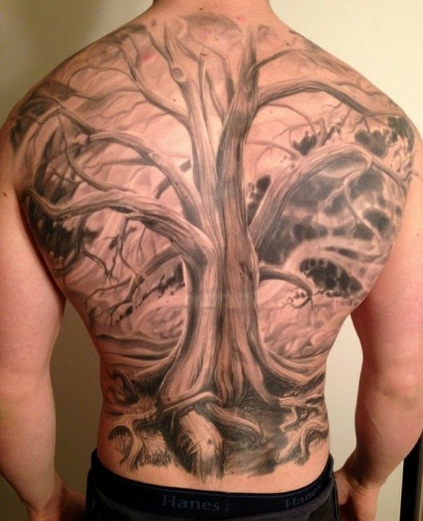 40 tree back tattoo designs for men tattoos for men for Realistic tree tattoos