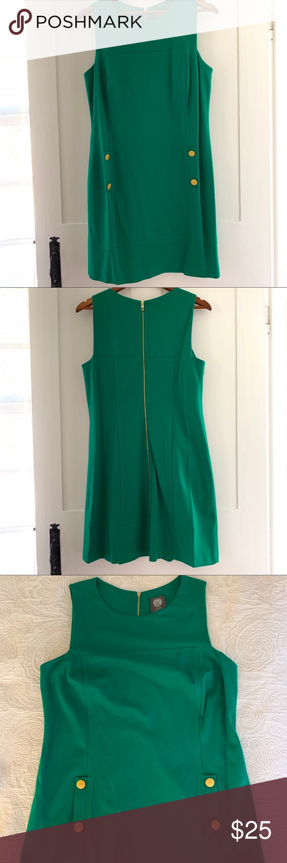 Vince Camuto Kelly Green Dress With Gold Details Kelly Green Dresses Green Dress Flattering Fashion [ 1740 x 580 Pixel ]