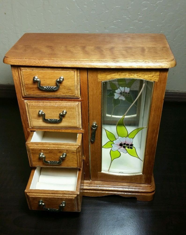 Vintage Oak Wood Stained Glass Door 4Drawer Jewelry Box Organizer