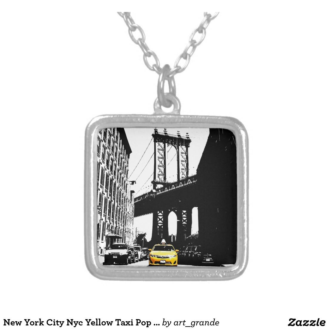 New York City Nyc Yellow Taxi Pop Art Square Pendant Necklace