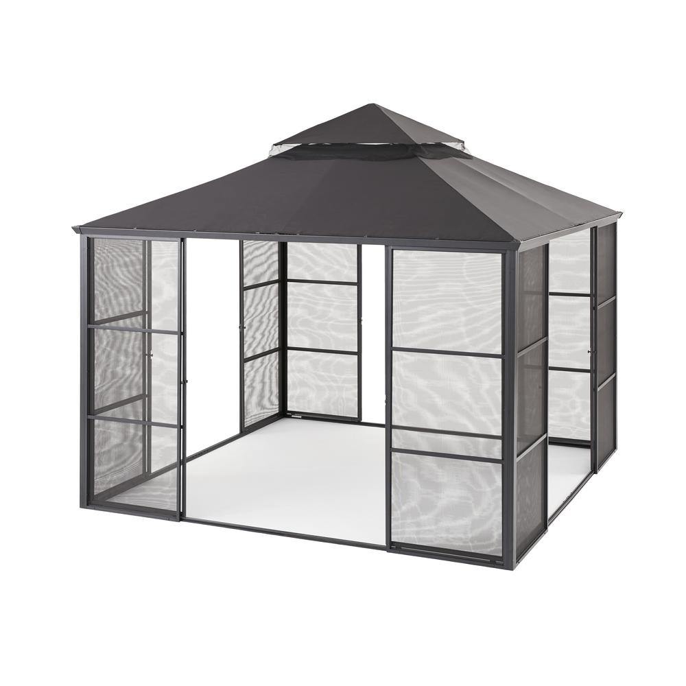 Hampton Bay 11 Ft X 11 Ft Aluminum Full Screen Sliding Door Gazebo Fsc17008 The Home Depot Screened Gazebo Gazebo Hot Tub Gazebo