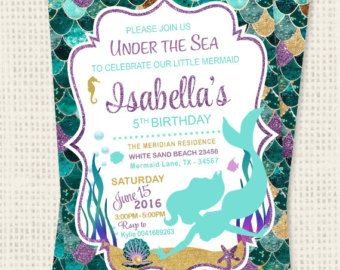 Mermaid Invitations Mermaid Birthday Invitation Teal Purple Gold