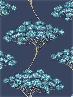 Banyan Navy Tree Wallpaper Tree Wallpaper Peel And Stick Wallpaper Blue Tree