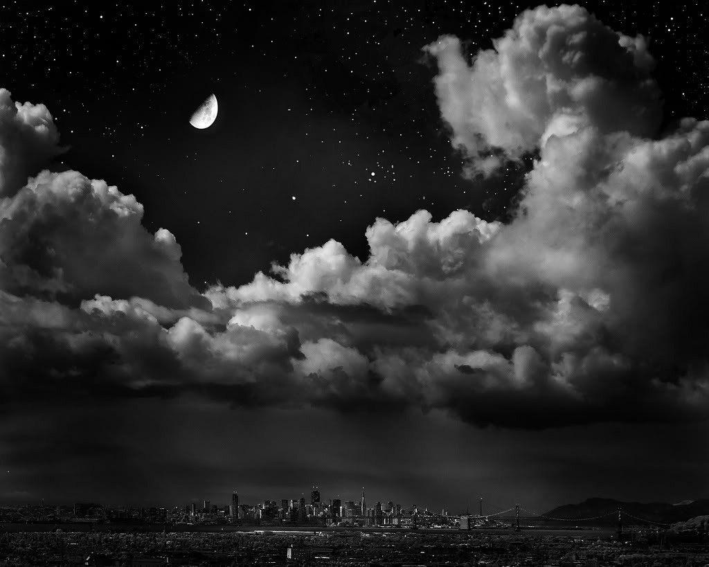 San Fran Night Storm Sky Bridge Abstract Dark Black White Stars Clouds City Moon Free Wallpapers Cool Photos Clouds Nature Tour