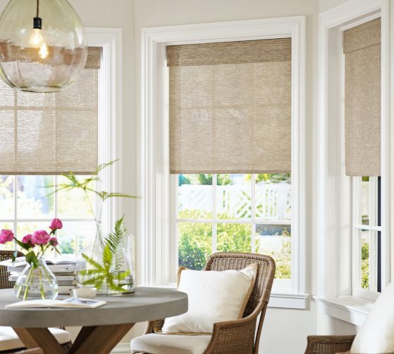 Natural Fiber Cordless Roman Shade Kitchen Window Treatments