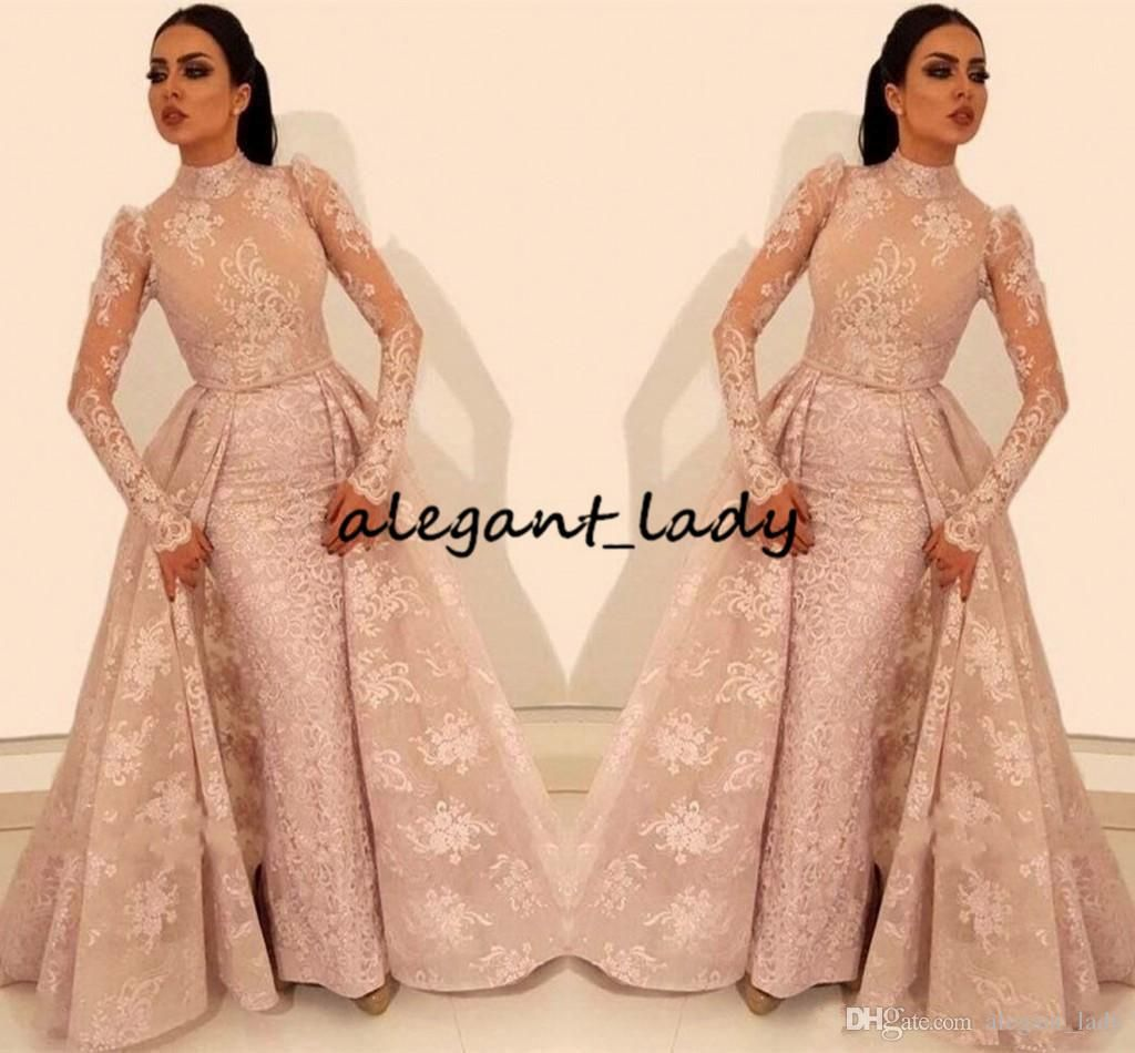 6266d92882c Saudi Arabic Long Sleeve High Neck Evening Dresses 2019 Lace Appliques  Muslim Kaftan Beaded Middle East