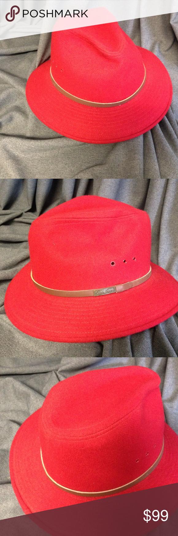 ba389967468bf Eddie Bauer Xlarge Red Outback long brim Woolblend Eddie Bauer Xlarge Red  Outback long brim Woolblend Floppy Brim Hat  Safari -nice h…